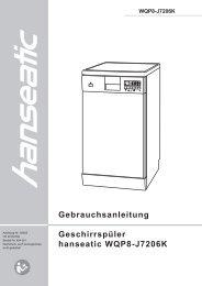 Gebrauchsanleitung Geschirrspüler hanseatic WQP8-J7206K