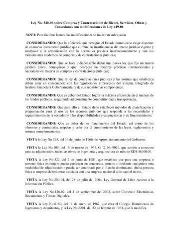 Ley No. 340-06 sobre Compras y Contrataciones de Bienes ...