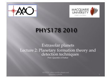 Extrasolar planets Lecture 2: Planetary formation theory and ...