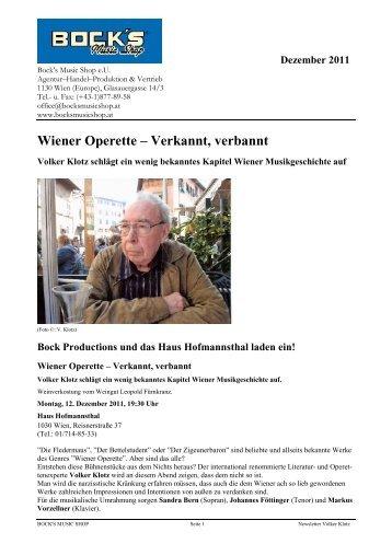 Wiener Operette – Verkannt, verbannt - Bock's Music Shop