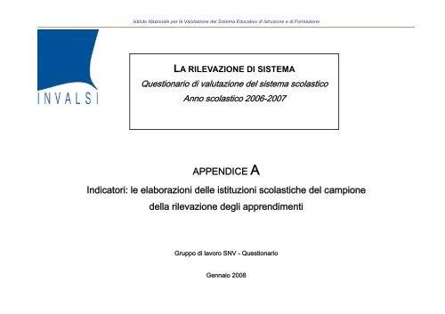 """Scarica: """"Appendice A - Indicatori del Questionario di ... - INVALSI"""