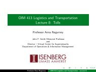 OIM 413 Logistics and Transportation Lecture 8: Tolls - The Virtual ...
