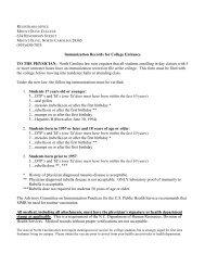 Immunization Form - Mount Olive College