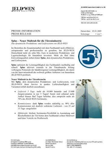 PRESSE-INFORMATION PRESS RELEASE 5plus - JELD-WEN Türen