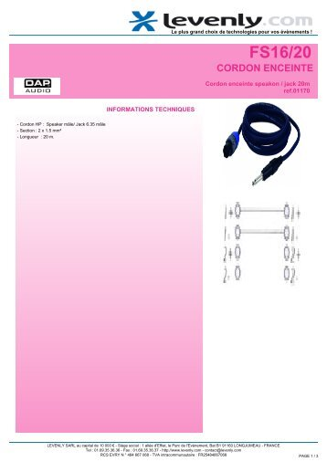 Fiche produit DAP AUDIO - FS16/20, CORDON ... - Levenly