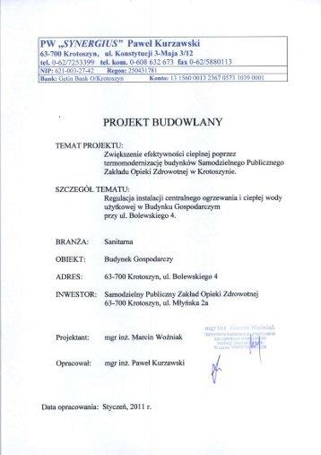 Projekt dla budynku BUDYNEK GOSPODARCZY (branża sanitarna)