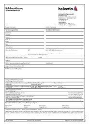 Unfallversicherung Schadenbericht - Helvetia