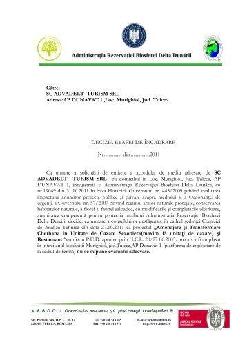 decizie - Rezervatia Biosferei Delta Dunarii