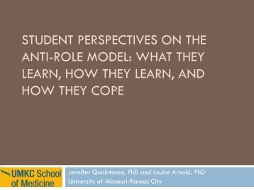 Student Perspectives on the Anti-role Model: What They Learn, How ...