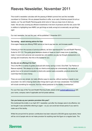 Re Tax Newsletter November 2011 - Reeves
