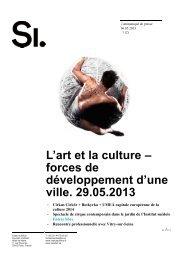 L'art et la culture – forces de développement d'une ville. 29.05.2013
