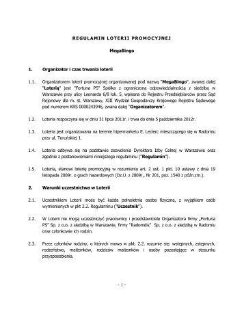 Regulamin loterii Megabingo Radom - Fortuna PS logo