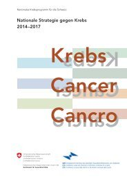 Nationale Strategie gegen Krebs - Oncosuisse