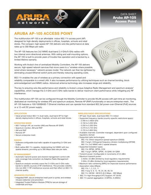 ARUBA AP-105 ACCESS POINT