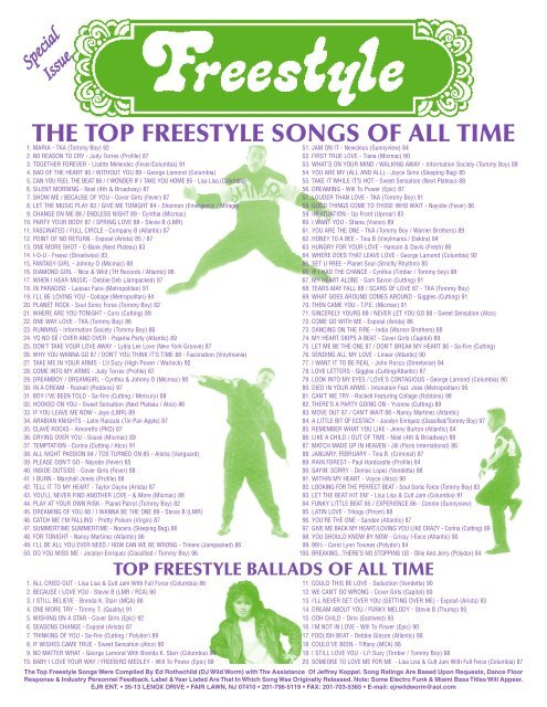 THE TOP FREESTYLE SONGS OF ALL TIME - Djwildworm com