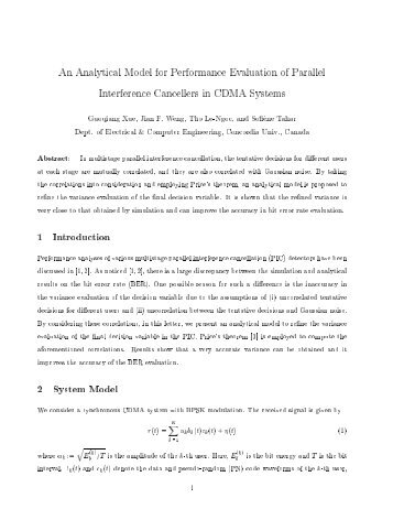 An Analytical Model for Performance Evaluation of Parallel ...