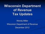 Wisconsin Department of Revenue Tax Updates - WICPA