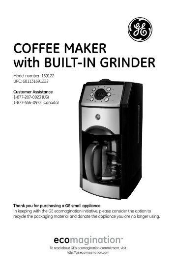 Coffee Maker With Built In Grinder : Espresso maker - GE :: Housewares