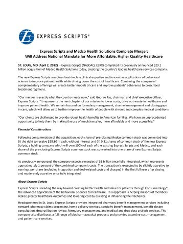 Express Scripts and Medco Health Solutions Complete Merger; Will ...
