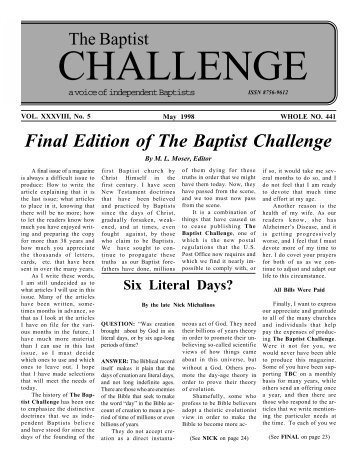 Final Edition of The Baptist Challenge