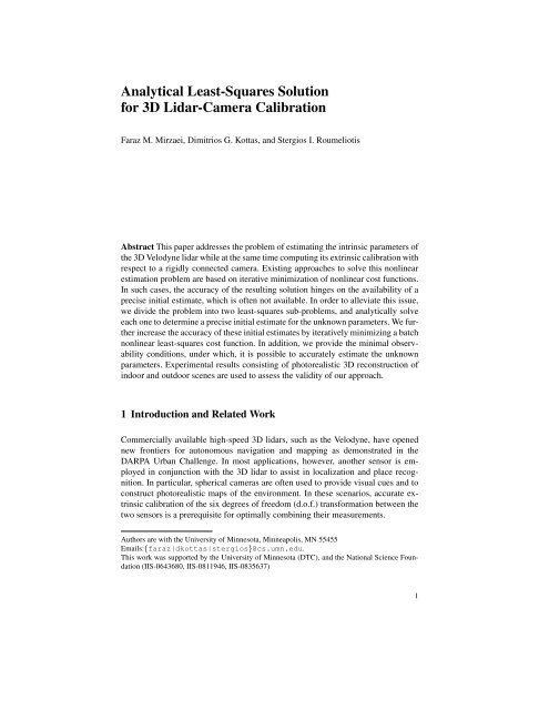 Analytical Least-Squares Solution for 3D Lidar-Camera
