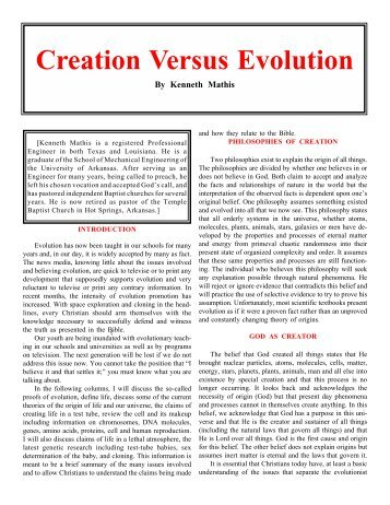 creation vs evolution research paper