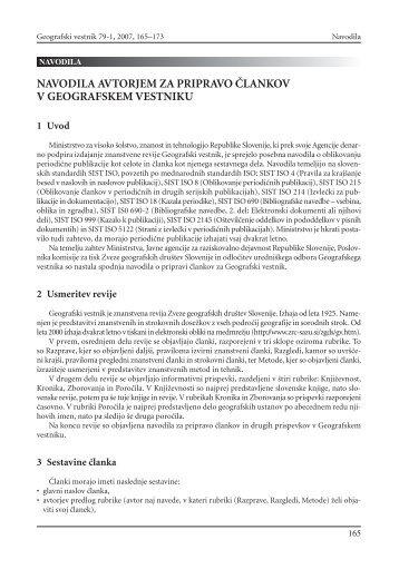 navodila avtorjem za pripravo ^lankov v geografskem vestniku