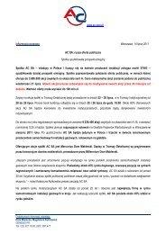 Informacja prasowa Warszawa, 14 lipca 2011 AC SA: rusza ... - STAG