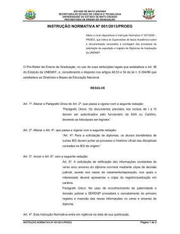 INSTRUÇÃO NORMATIVA Nº 001/2013/PROEG - Unemat