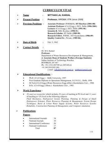 Curriculum Vitae Sumit Sen Ph D Indian Institute Of Technology