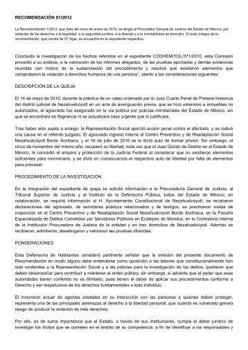 RECOMENDACIÓN 01/2012 Concluida la investigación ... - codhem