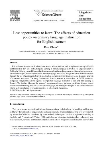 The effects of education policy on primary language instruction for ...