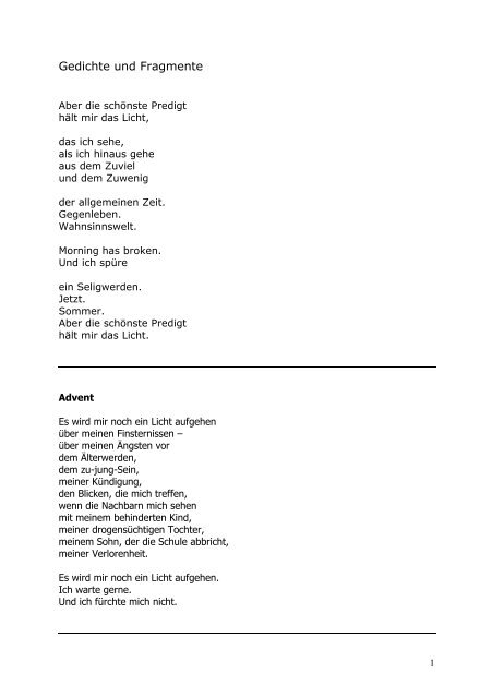 Gedicht licht im advent