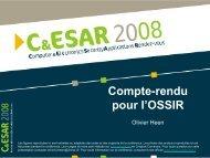 Compte-rendu C&ESAR 2008 pour l'OSSIR