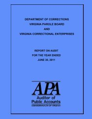 Department of Corrections, Virginia Parole Board and Virginia ...