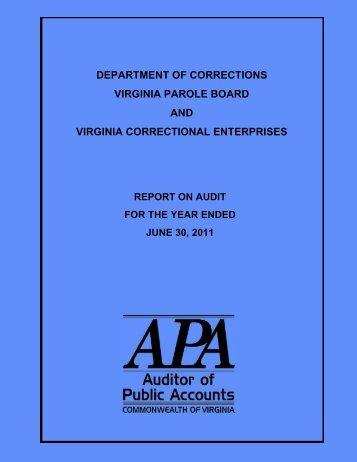 Department of Corrections, Virginia Parole Board and Virginia ...