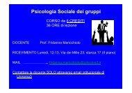 Psicologia sociale dei gruppi - Scienze della Formazione