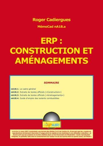 ERP : CONSTRUCTION ET AMÉNAGEMENTS