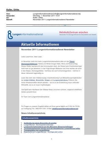 Newsletter November 2011 - Lungeninformationsdienst