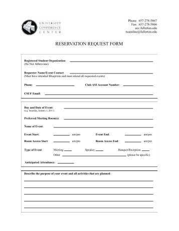 Student Recreation Center Reservation Request Form