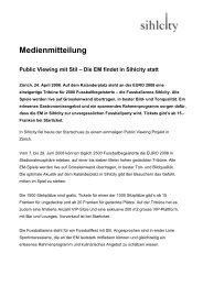 Medienmitteilung vom 24. April 2009 - Sihlcity