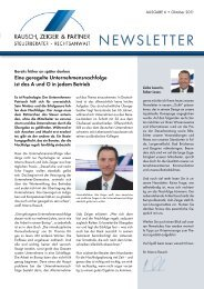 NEWSLETTER - Rausch, Zeiger & Partner