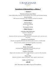 Functions & Banqueting ~ Menu 1 - Craighaar Hotel