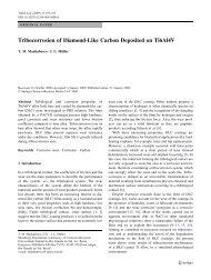 Tribocorrosion of Diamond-Like Carbon Deposited on ... - Springer
