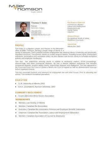 Thomas V. Duke PROFILE EDUCATION ... - Miller Thomson