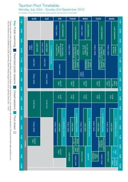 Taunton Pool Timetable: - Zing Somerset