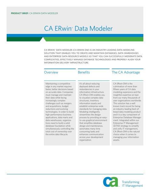 CA ERwin Data Modeler Product Brief