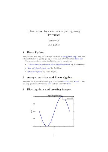 Introduction to scientific computing using Python - users-deprecated ...