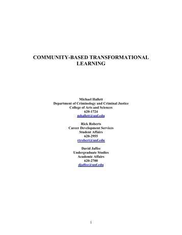 COMMUNITY-BASED TRANSFORMATIONAL LEARNING
