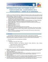 información para los padres de los participantes del campamento ...